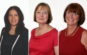 From left, councillors Maria Alexandrou, Dinah Barry, and former councillor Vicki Pite
