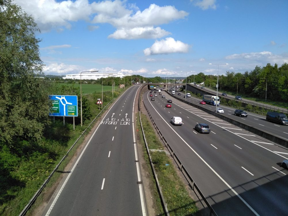 Junction 25 of the M25 is the main route into Enfield from outside London