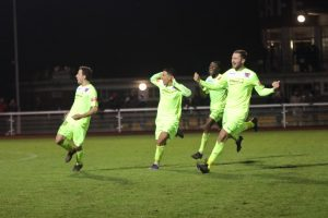 Maldon & Tiptree celebrate winning a penalty shoot-out at Enfield Town last month (credit Tom Scott)