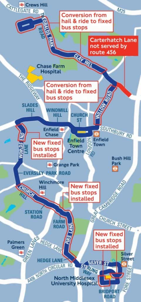 Map of bus route 456