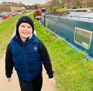 Seven-year-old Nathan on one of his walks around Enfield Lock
