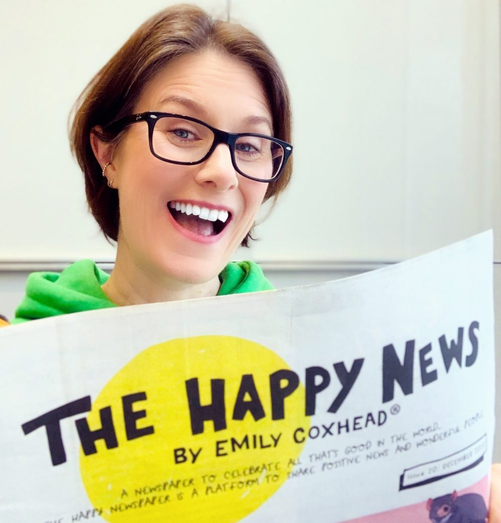 Victoria Thompson with the latest edition of The Happy News