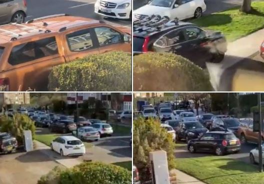 Footage captured of drivers mounting pavements in Bincote Road