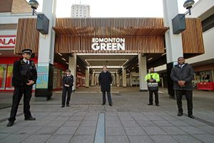 Police officers are supporting business owners at Edmonton Green Shopping Centre