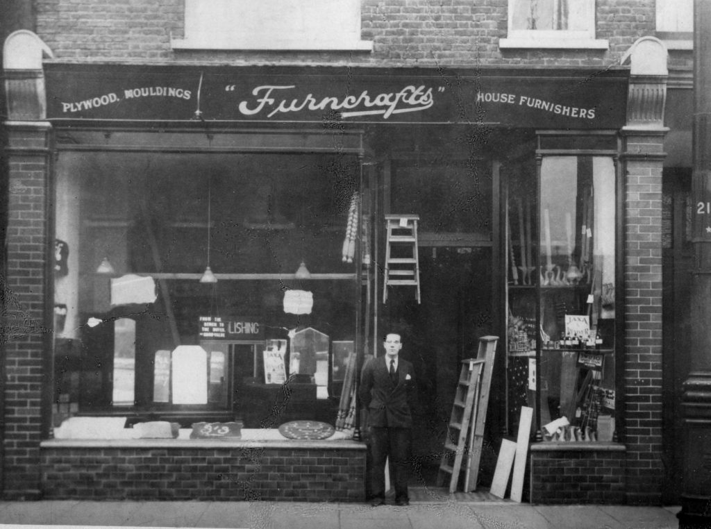 Fred Rolland standing outside Furncrafts shortly after it opened in 1933