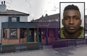 The Hart Lounge in Chase Road, Southgate and (inset) Alhaji Sesay