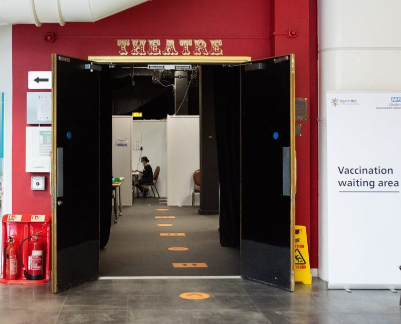 The Dugdale Centre in Enfield Town has been transformed into a Covid-19 vaccination hub by Enfield Council and North Middlesex University Hospital (credit Katrina Campbell)