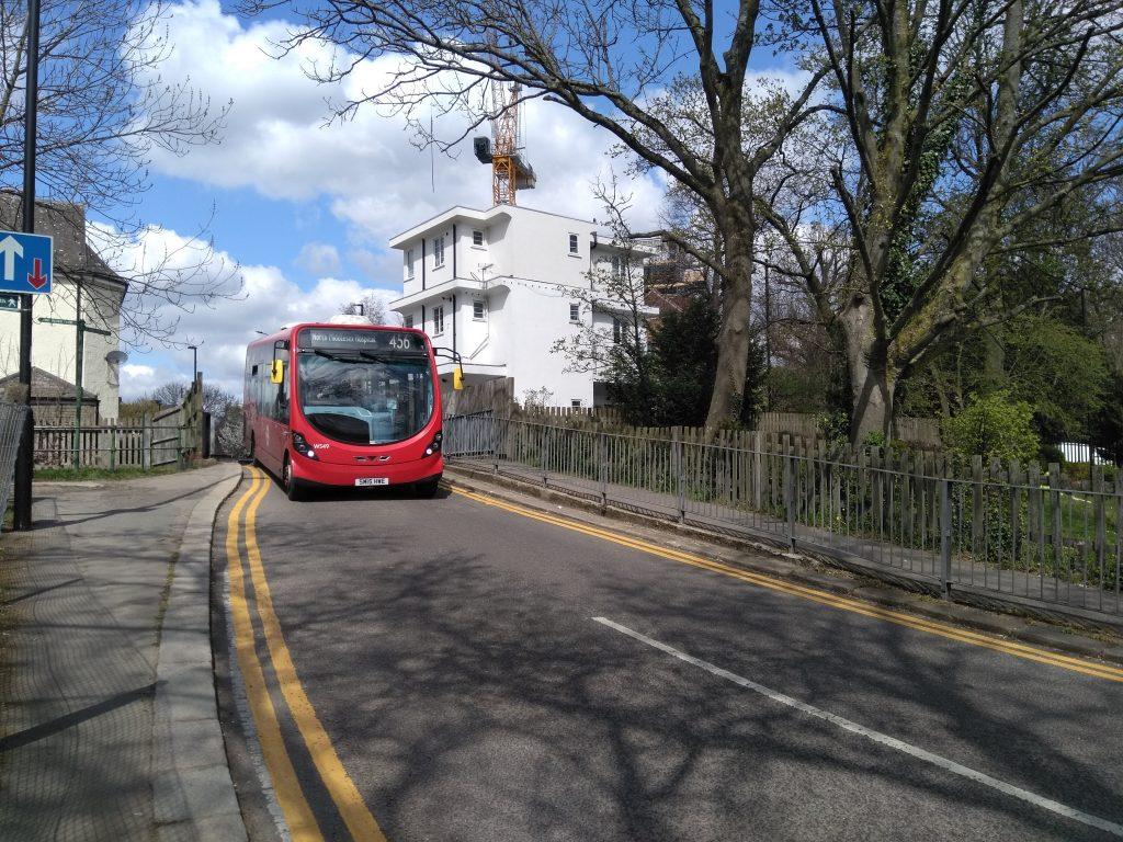The 456 bus pictured on the single-lane bridge in Farm Road, Winchmore Hill