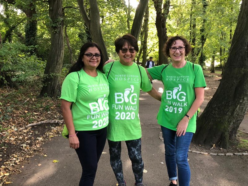 Fundraisers for North London Hospice taking part in last year's My Big Fun Walk