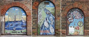 The mosaics at Palmers Green Station, made by Alex McHallam and Tamara Froud, take inspiration from the area's parks and open spaces (credit Amanda Eatwell www.amandaeatwellphotography.com)