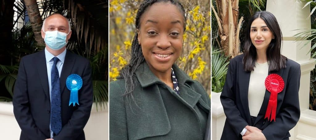 The three Enfield by-election winners, from left; Andrew Thorp, the Conservative victor in Chase ward; Chinelo Anyanwu, the Labour winner in Jubilee; and Ayten Guzel, the new Labour councillor in Southbury