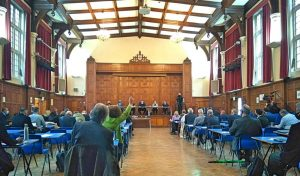 Thursday's extraordinary council meeting took place at Enfield Grammar School to comply with government pandemic restrictions on distancing