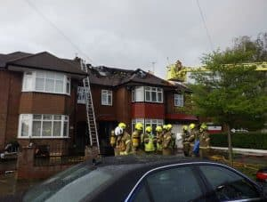 Aftermath of the blaze in Westpole Road, which investigators say was caused by a lightning strike