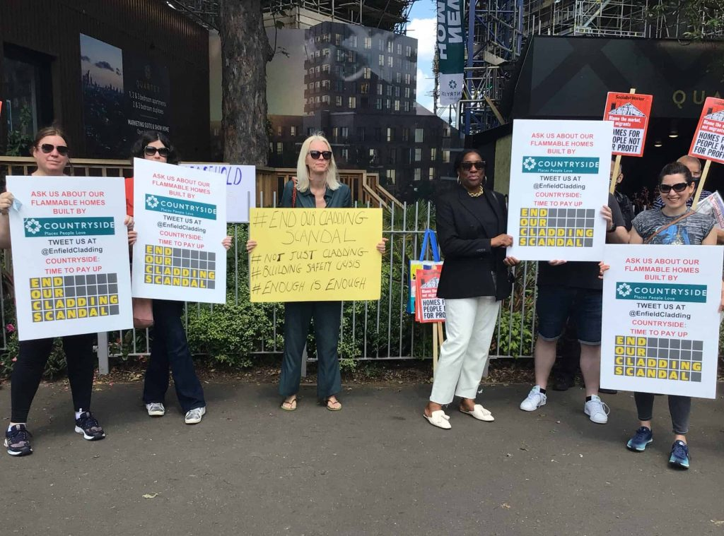 Prowse Court residents protesting outside a Countryside sales office in Hackney were joined by Edmonton MP Kate Osamor (fourth from right)