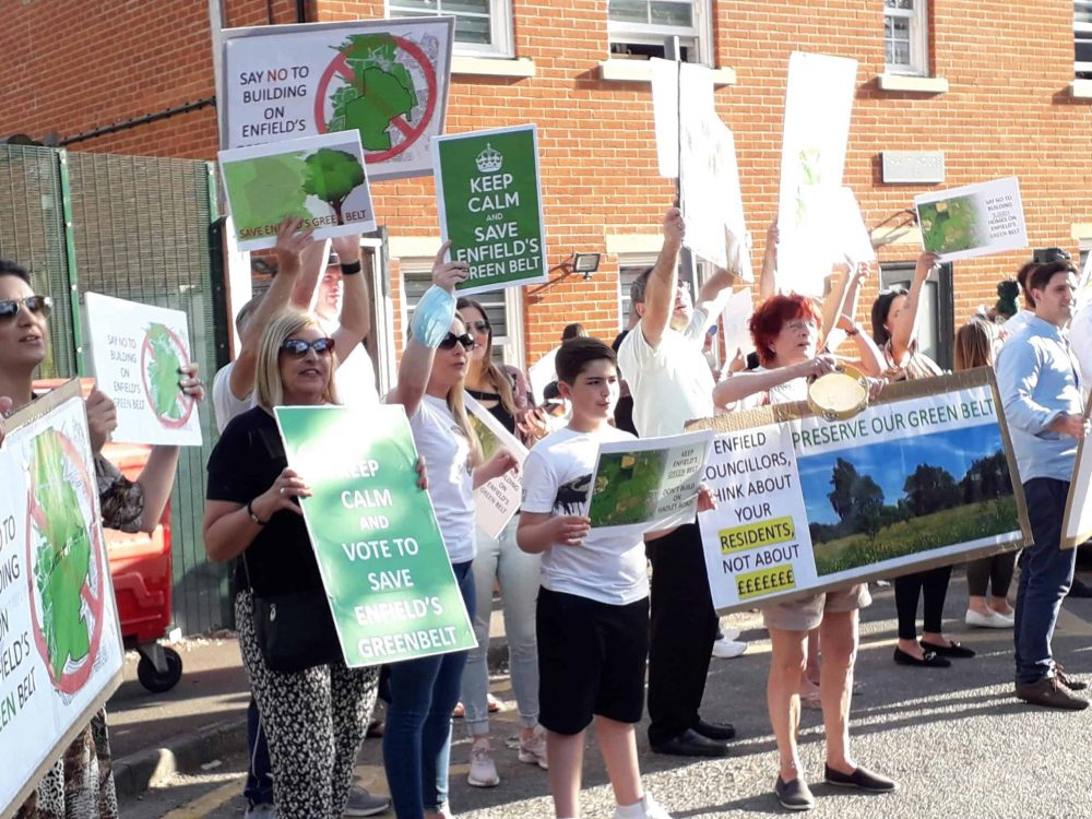 Enfield residents protesting prior to a council meeting debate over the future of the borough's Green Belt