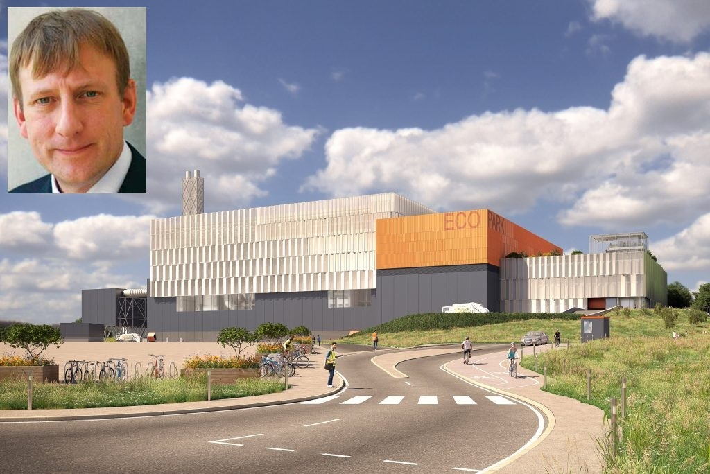 The plans for the new incinerator and (inset) NLWA chair Clyde Loakes