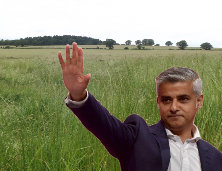 Vicarage Farm in World's End, where Enfield Council wants to allocated 3,000 new homes, and (inset) Mayor of London Sadiq Khan