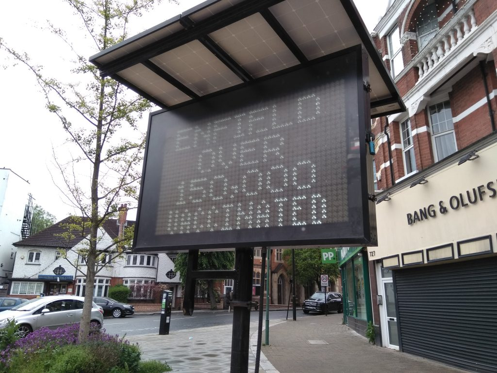 Enfield reached the milestone of 150,000 people vaccinated with at least a first dose in May