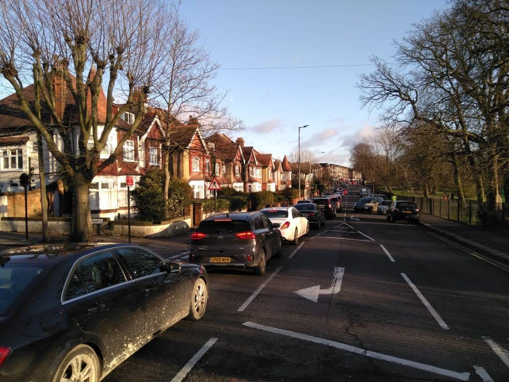 A traffic jam in Alderman's Hill, Palmers Green, on the edge of the Fox Lane LTN scheme