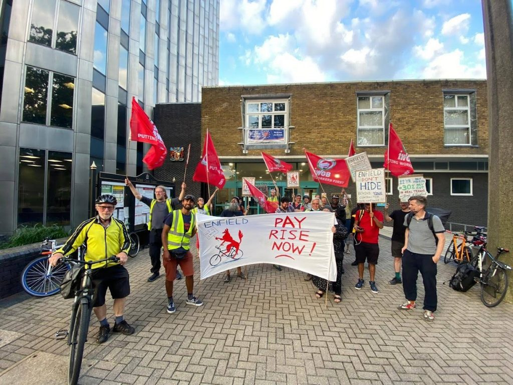 Cycling instructors stage a protest outside Enfield Civic Centre