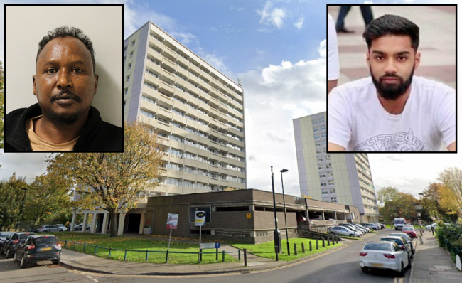 Holbrook Close, where Abdi Ibrahim Osman (inset, left) stabbed Nahid Ahmed (inset, right) to death, close to Purcell House where they both lived
