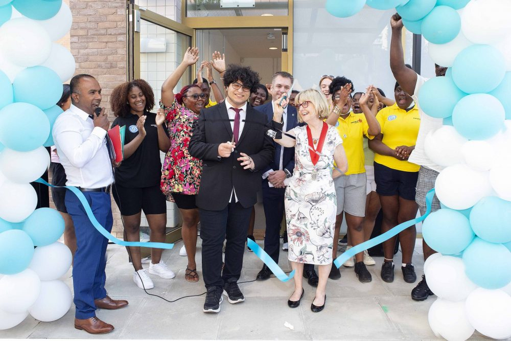 Deputy mayor of Enfield Christine Hamilton cuts the ribbon at the opening of the new Ponders End Youth Centre building (credit Enfield Council)
