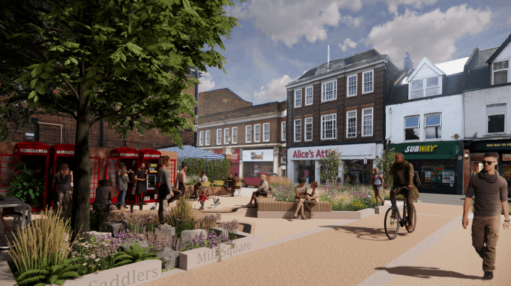 The council's vision for 'Saddlers Mill Square' in what is currently the junction where Little Park Gardens meets Church Street