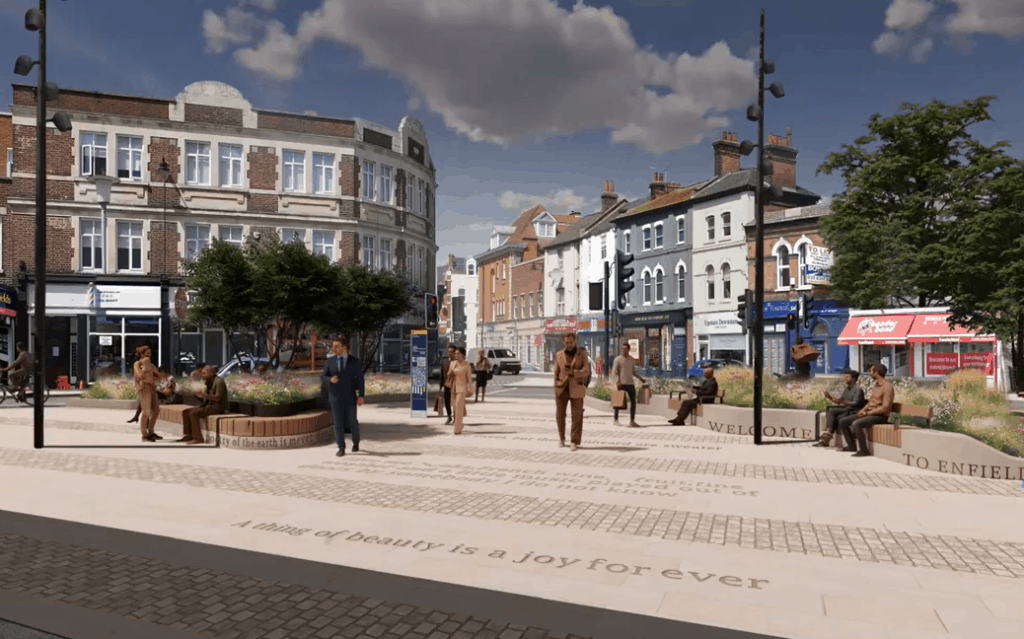 How the new plaza outside Enfield Town Station could look, with references to the poetry of John Keates