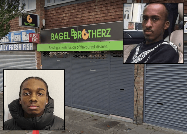 Khallid Hogan (inset, left) murdered Abdullahi Mohamoud (inset, right) at Bagel Brotherz in Enfield Highway on 19th March 2020