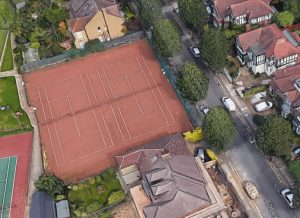The courts in Abbey Road that Bush Hill Park Tennis Club wants to build new homes on (credit Google)