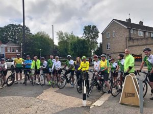 Cyclists in Lancaster Road ahead of their charity bike ride