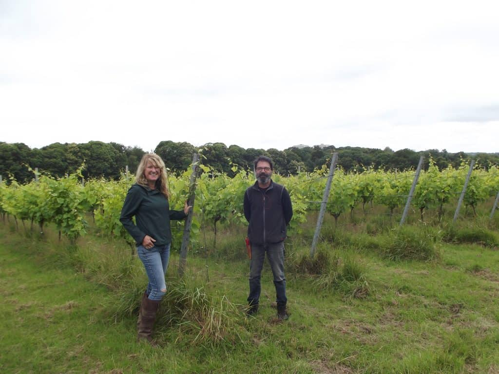At Forty Hall Vineyard are Emma Lundie, head of operations, and Chus Bartolome, vineyard manager