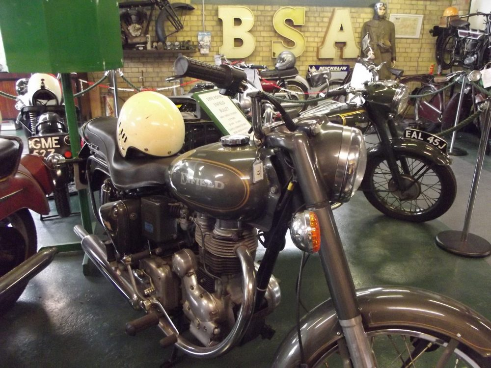 The Whitewebbs Museum of Transport boasts a display of vintage motorcycles, including Royal Enfield bikes