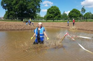 Alison Archer pictured at Broomfield Park where she was one of the volunteers who helped create a new wetlands (credit Vinnie Lo)