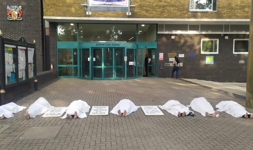 Opponents of a new incinerator in Edmonton staged a protest outside Enfield Civic Centre