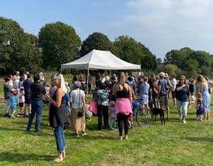 Residents discuss the crematorium plan at Firs Farm (Image: Helen Osman)