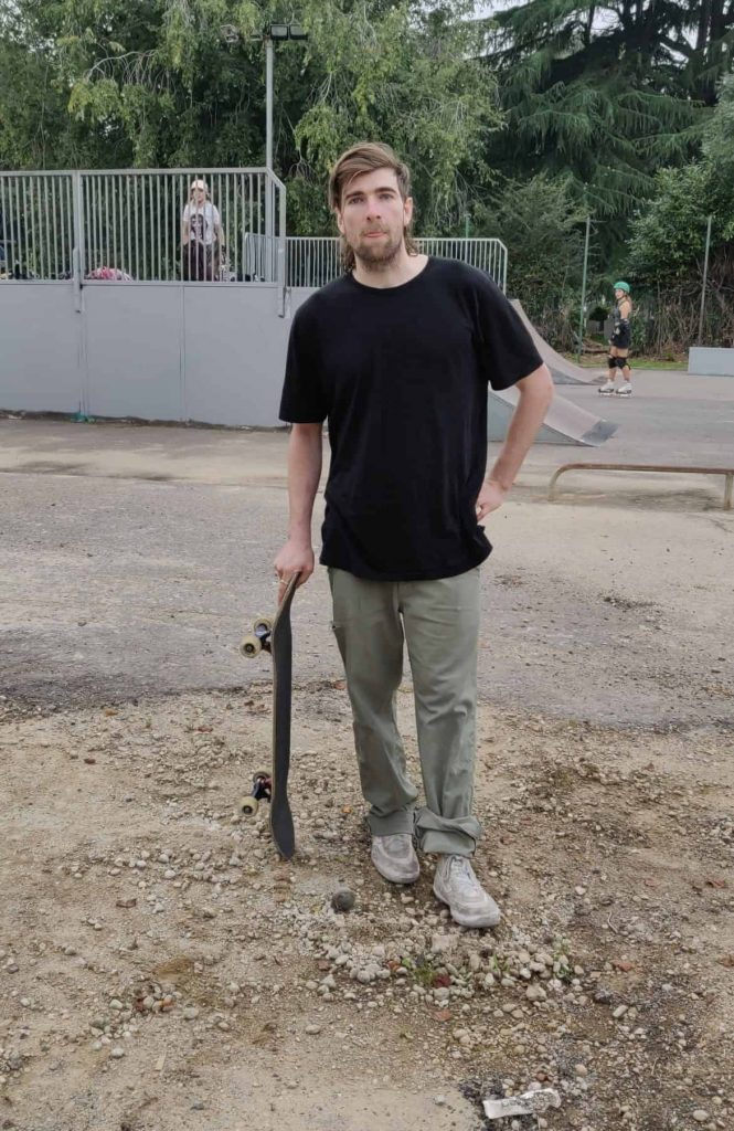 Jamie Rippington at Edmonton Skatepark, where loose gravel and stones are creating a health and safety hazard
