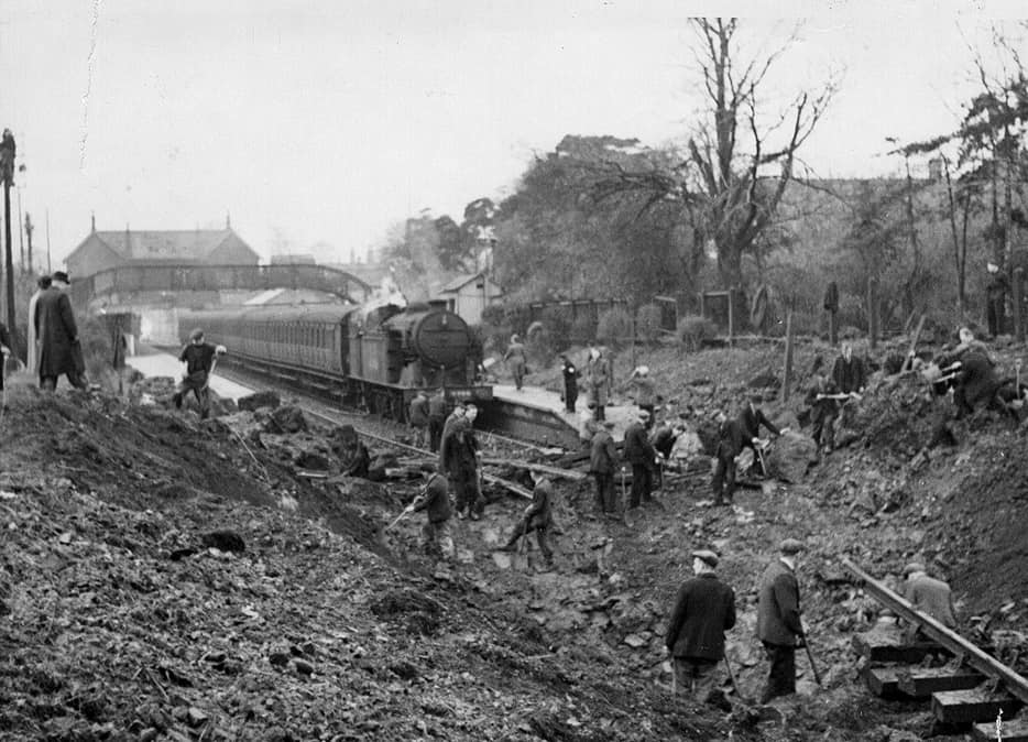 The aftermath of the V2 rocket attack at Palmers Green Station in October 1944 (credit Enfield Local Studies Library and Archive)