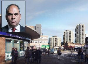Enfield Southgate MP Bambos Charalambous (inset) spoke out against the proposed high-rise blocks near Southgate tube (main image)