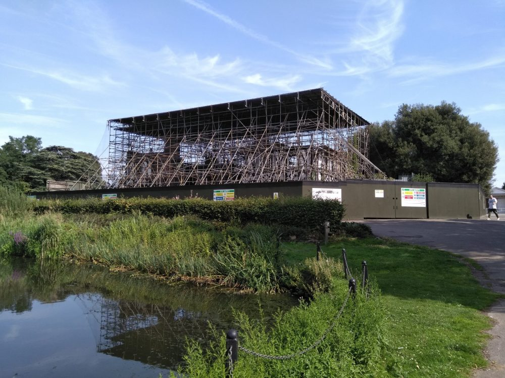 Broomfield House remains barely visible beneath the maze of scaffolding that has surrounded it for years