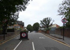 The eastern entrance to the Fox Lane Quieter Neighbourhood in Palmers Green, where traffic enforcement cameras are used