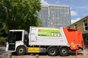A recycling truck outside Enfield Civic Centre (credit Enfield Council)
