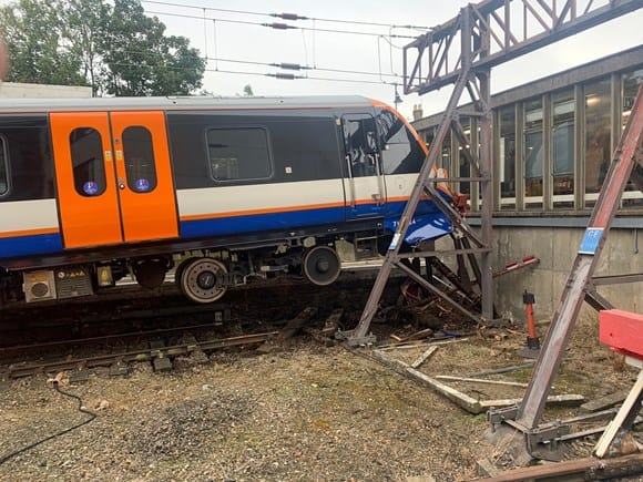The wheels of a London Overground train lifted off the tracks at Enfield Town as it failed to stop in time