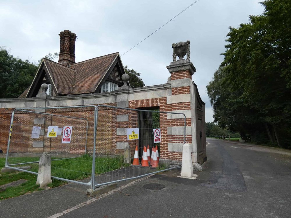 The Cockfosters Road entrance to Trent Park has not been fully repaired following damage caused by a lorry in August